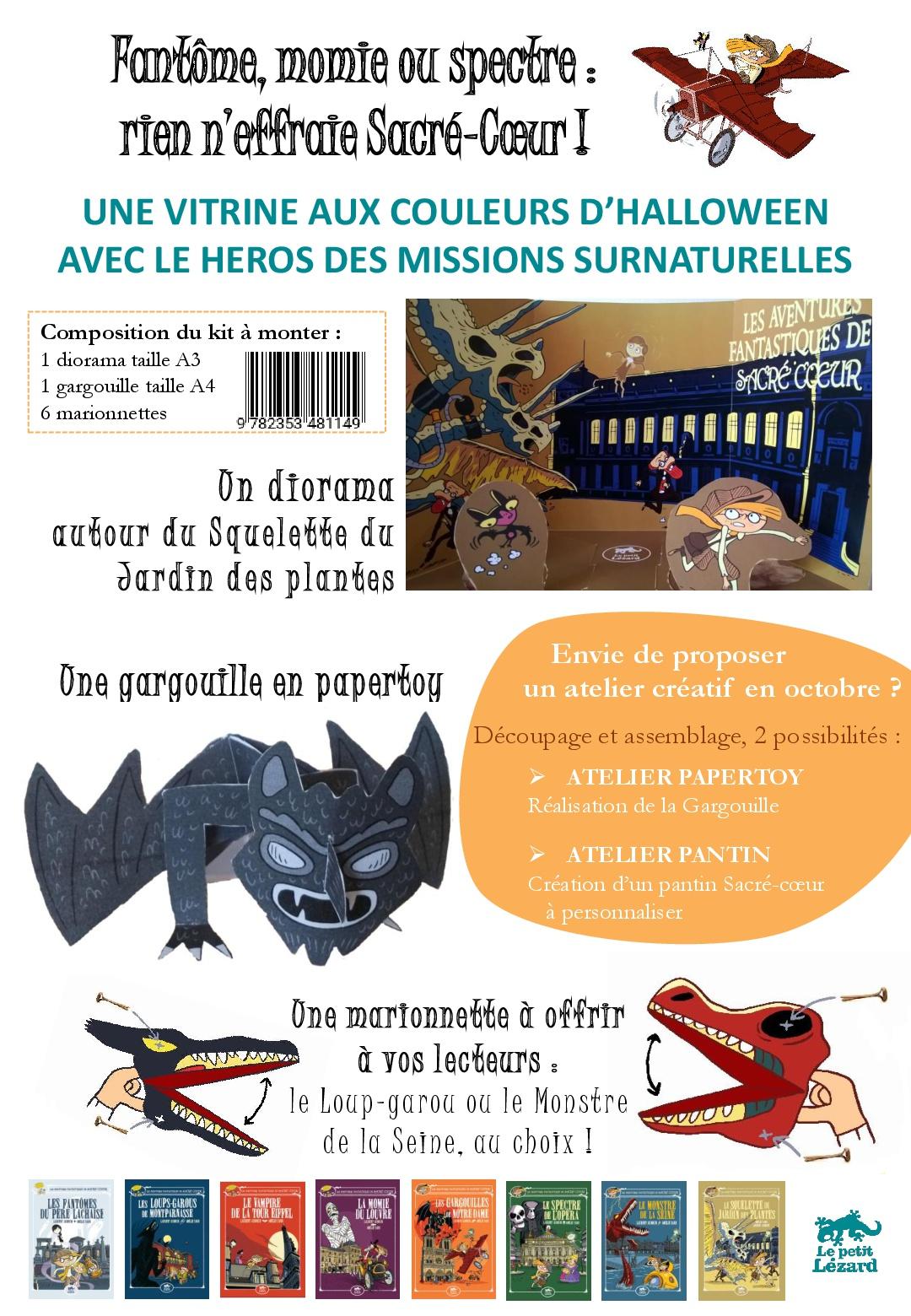 Un kit vitrine spécial Hallowwen avec gargouille, loup-garou et monstre...